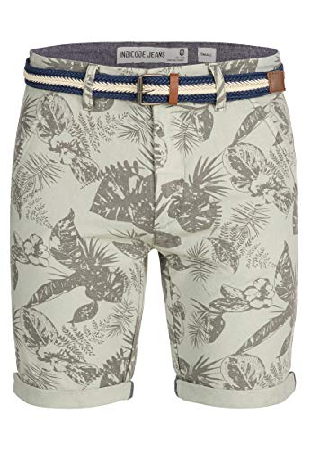 Indicode Herren Curtain Chino Shorts m. Blumen-Print inkl. Gürtel aus 100% Baumwolle | Kurze Hose Regular Fit Bermuda Sommerhose Herrenshorts Short Men Pants Chinohose f. Männer Lt Grey L