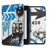 kwmobile Étui liseuse Compatible avec Amazon Kindle Paperwhite (10. Gen - 2018) - Housse avec Rabat magnétique en Simili Cuir - Graffiti Bleu-Noir-Blanc