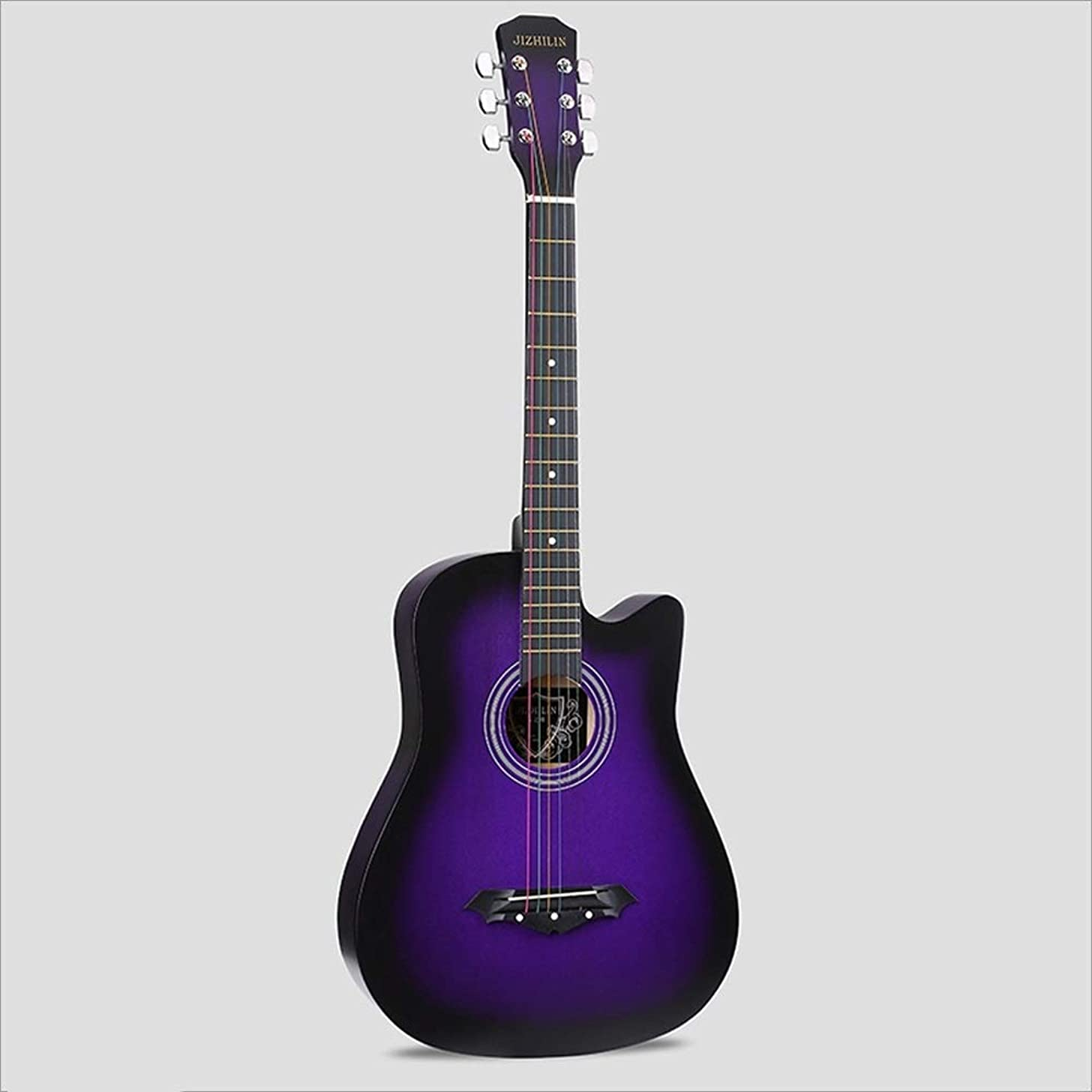 Aigliady Beech Beginner Students Practice Teenager Boy Girl Guitar 38 Inch Acoustic Guitar Belt Bag With Rope Tuner Capo Polishing Cloth (Color : Purple)