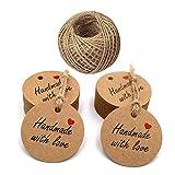 Handmade with Love Etiketten,100 Stück Kraftpapier Etiketten Tags 5 CM Geschenk Anhänger...