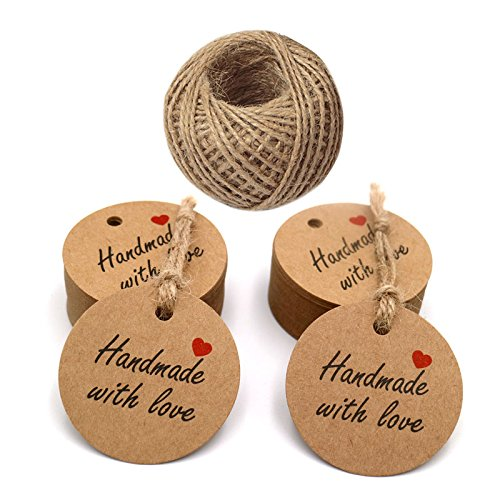 Handmade with Love Etiketten,100 Stück Kraftpapier Etiketten Tags 5 CM Geschenk Anhänger Papieranhänger Hängeetiketten Anhängeetiketten mit 30 M Jute-Schnur