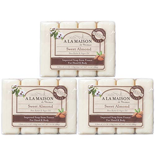 A La Maison de Provence Bar Soap | Sweet Almond Scent | French Milled Moisturizing Natural Hand and Body Soap | 3.5 Oz each (12 Bars Total)