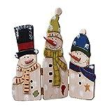 YUMBOR Wood Snowmen Folding Screen Antique Table Top Mantle Centerpiece Christmas Decoration 12.5''H