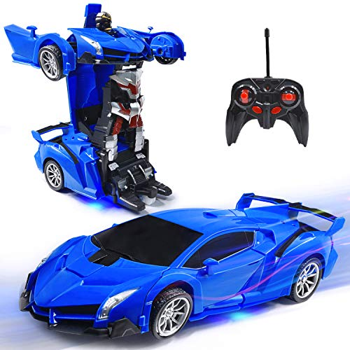 VillaCool RC Cars Robot for Kids Remote Control 1:18 Scale Transformrobot Racing Vehicle Toys with One-Button Deformation and 360°Rotating Drifting, Deformation Best Gift for Children (Blue)