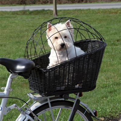 wangado Panier de vélo en osier tressé robuste l 49 x P 35 x H 55 avec grille de sécurité galvanisé, à monter sur le toit, charge max de 12 kg, souple Coussin inclus