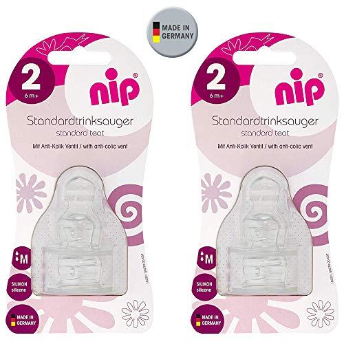 NIP Silikon Sauger Set Größe M (Milch) 4er Set, Gr.2 ab 6 Monate,anatomischer, kiefergerechter Sauger, mit Anti-Kolik Ventil