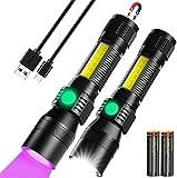 ccfgh Linterna Recargable, 3In1 LED Linterna táctica UV & Redlight, 1000lumen 7 Modos de luz, Zoomable, Linterna a Prueba de Agua Tamaño de Bolsillo for Mascotas Manchas de orina Detección/Camping