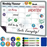 Magnetic Fridge Calendar Dry Erase - 12x17 inch Magnetic Monthly Calendar for Refrigerator - Magnetic White Board Calendar for Fridge - Magnetic Planner for Refrigerator with 8 Magnets & 4 Markers
