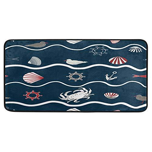 Alfombra de baño de pescados de mar y pescado, alfombra de baño, antideslizante, para baño, interior, 99 x 50 cm