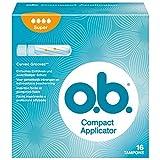 o.b. Compact Applicator Super, kompakte, sichere & diskrete Tampons mit Applikator & geschwungenen Rillen für stärkere Tage (1x16 Stück)