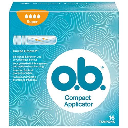 o.b. Compact Applicator Super, kompakte, sichere & diskrete Tampons mit Applikator & geschwungenen Rillen für stärkere Tage (4 x 16 Stück)