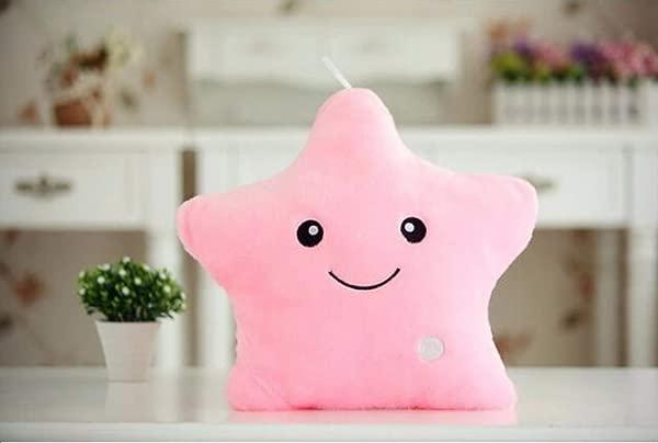 E Vigilia Glowing LED Night Light Twinkle Star Shape Plush Pillow Hot Colors Pink