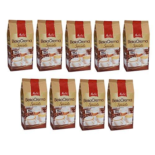 Melitta BellaCrema Speciale, 100 % Arabica, Ganze Kaffeebohnen, 1000g, 9er Pack (9 x 1kg)