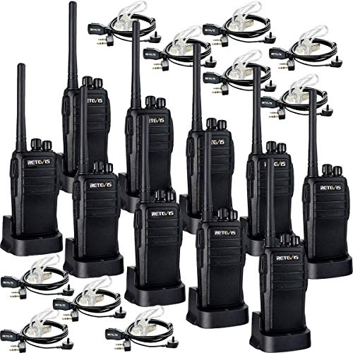 Case of 10,Retevis RT21 Two Way Radios Long Range Rechargeable, Heavy Duty Walkie Talkies for Adults, VOX Security Handfree 2 Way Radios with Earpiece, for Commercial Organization