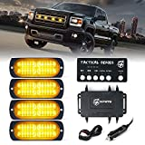 [Upgrade] Xprite 24 LED Amber Surface Mount Strobe Lights Kit with Control Panel, Grill Grille Side Marker Flashing Emergency Warning Light Assemblies for Trucks Vehicles ATV RV Cars Van 4PCS