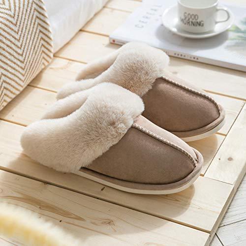 ypyrhh Zapatos de piel sintética de interior, deslizadores cálidos antideslizantes, zapatillas de algodón para pareja casera-Khaki_38-39, Zapatos de casa con forro polar coral acogedor con anti