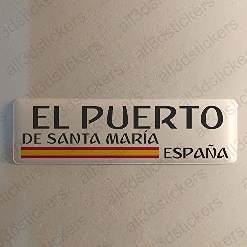 Pegatina El Puerto de Santa Maria España Resina, Pegatina Relieve 3D Bandera...