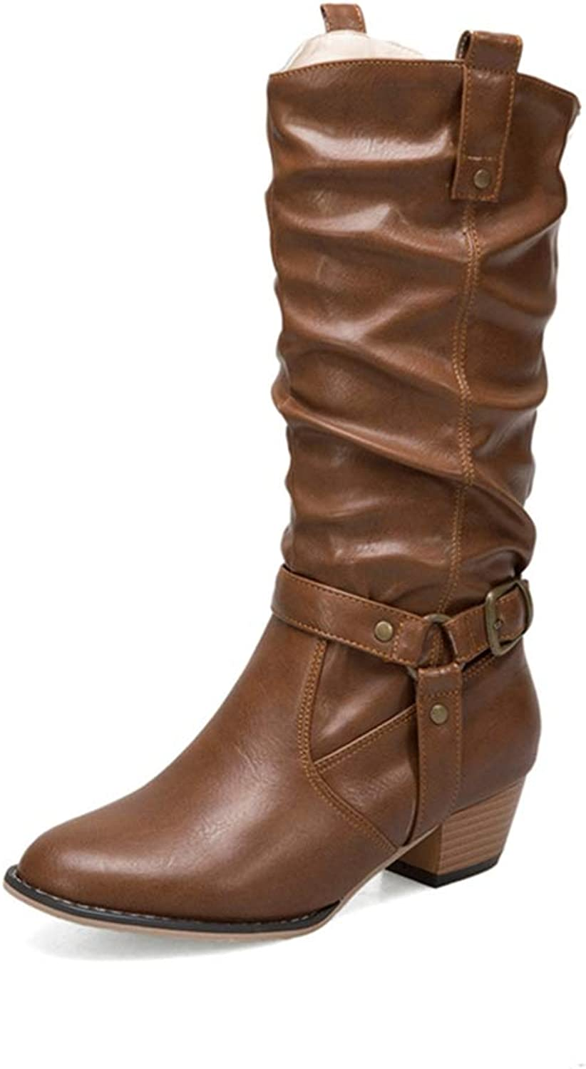 GIY Women's Slouch Riding Boots Buckle Mid Calf Round Toe Wide Width Velvet Low Heel Western Cowboy Boots