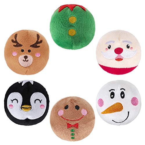 PAWCHIE Christmas Dog Squeaky Toys Plush Ball Toys 6 Pack - Super Soft Pet Plush Chew Ball Toys with Cute Expressions, Squeaker Inside, for Dogs, Puppies