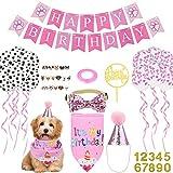 Cane Primo Compleanno Cappello Bandana Set Buon Compleanno Banner Paw Print Palloncini Papillon Collare Numero d'oro Cake Topper per Pet Puppy Cat Compleanno Decorazioni (Rosa/Ragazza)