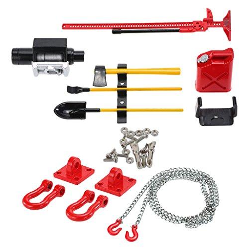 RC Crawler 1/10 Cilindro de Combustible Kit de Herramientas de Gato con Cadena de Gancho de Remolque para Axial SCX10 CC01 - Rojo