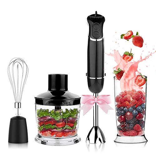KOIOS oxasmart Electric 4-in-1 Hand Immersion Blender with 9-Speed Stick Blender with Cord and Detachable Accessories, 304 Stainless Steel, BPA-Free, Classic Black