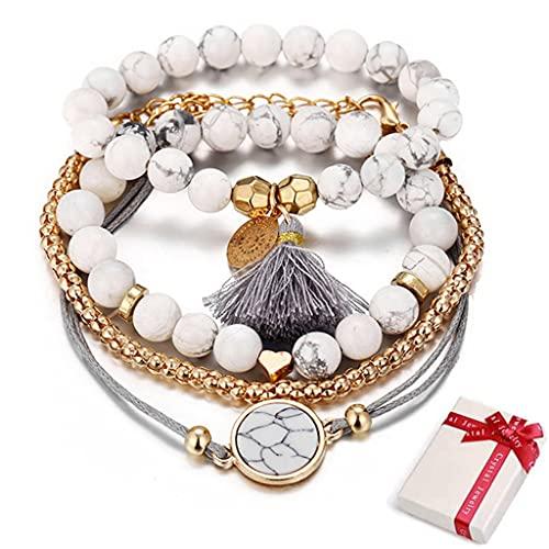 Conruich 5 pulseras de estilo bohemio de capas con borlas, ajustables, para mujer, con mármol, forma de corazón, cadena de ancla, perlas de moda, personalidad, regalo para Navidad o cumpleaños