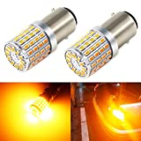 Phinlion 2000lm BAY15D 1157 Orange Yellow LED Bulbs Super Bright 3014 72-SMD 1157 2357 7528 BAY15D LED Bulb for Turn Signal Blinker Lights, Amber Yellow