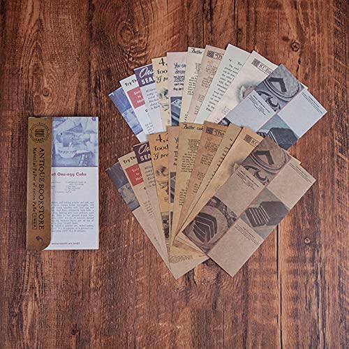 Morantsale 60 hojas antiguas librería serie vintage periódico material papel diario diario...