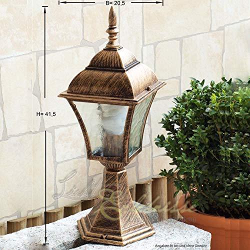 Energiespar-Sockelleuchte 11 Watt im Antik-Look aus Aluguß IP43 Außenleuchte Gartenleuchte Lampe Leuchte