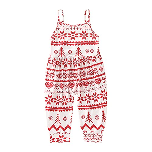 Toddler Girls Kids Jumpsuit One Piece Christmas Xmas Tree Snowman Playsuit Harem Strap Romper Summer Outfits Clothes J670 Red