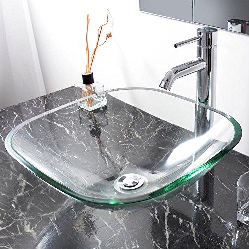 Aquaterior Bathroom Tempered Glass Vessel Sink Natural Clear Square Shape Transparent Basin