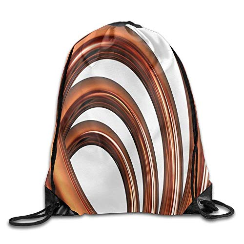 DHNKW Copper Helix Coil Curved Spiral Pipe Swirled Shape On White Backdrop Drawstring Gym Sack Sport Bag For Men and Women
