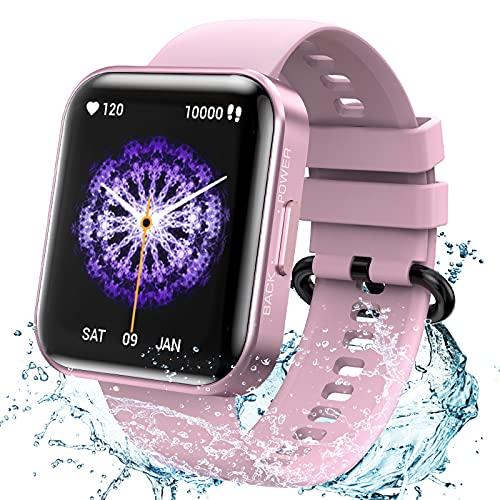 KOSPET Smartwatch, Fitness Tracker Armbanduhr mit Blutdruckmessung Pulsuhr Schlafmonitor, IP68 Wasserdicht Sportuhr mit Schrittzähler Stoppuhr Smart Watch für Damen