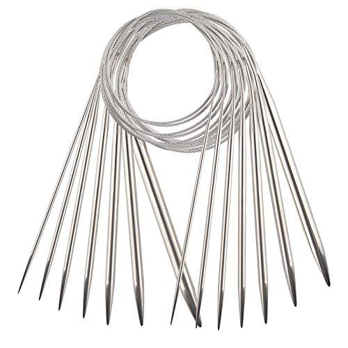 TOYMIS Ensemble d'Aiguilles à Tricoter Circulaires En Acier Inoxydable De 7 Tailles Pour Projet De Tissage (1.6 mm / 1.8 mm / 2.3 mm / 3.5 mm / 4.8 mm / 5.5 mm / 6.0 mm)