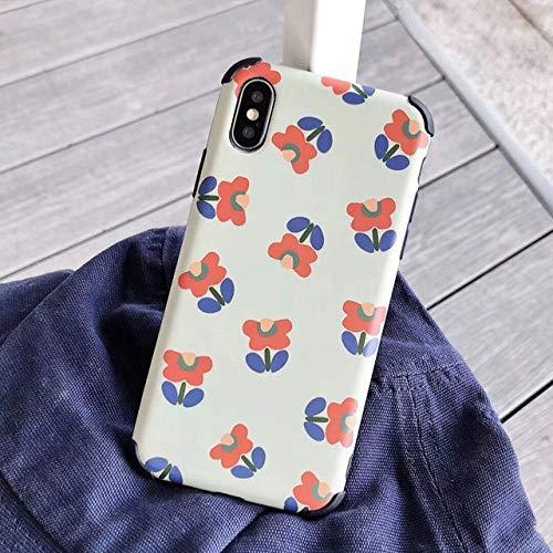 KNGYUTF telefoonhoes schokbestendig voor iPhone XR XS Max 6 6S 7 8 Plus X schattige bloem fruit zacht IMD letters achterkant beschermhoes geschenken Pour 7 Plus ou 8 Plus D