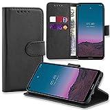 AMPLE Nokia 5.4 Hülle, Nokia 5.4 Buchhülle, Premium PU Leder Flip Folie [Magnetschutz] Wallet Hülle Cover [Kreditkartenfach] für Nokia 5.4 (schwarz)
