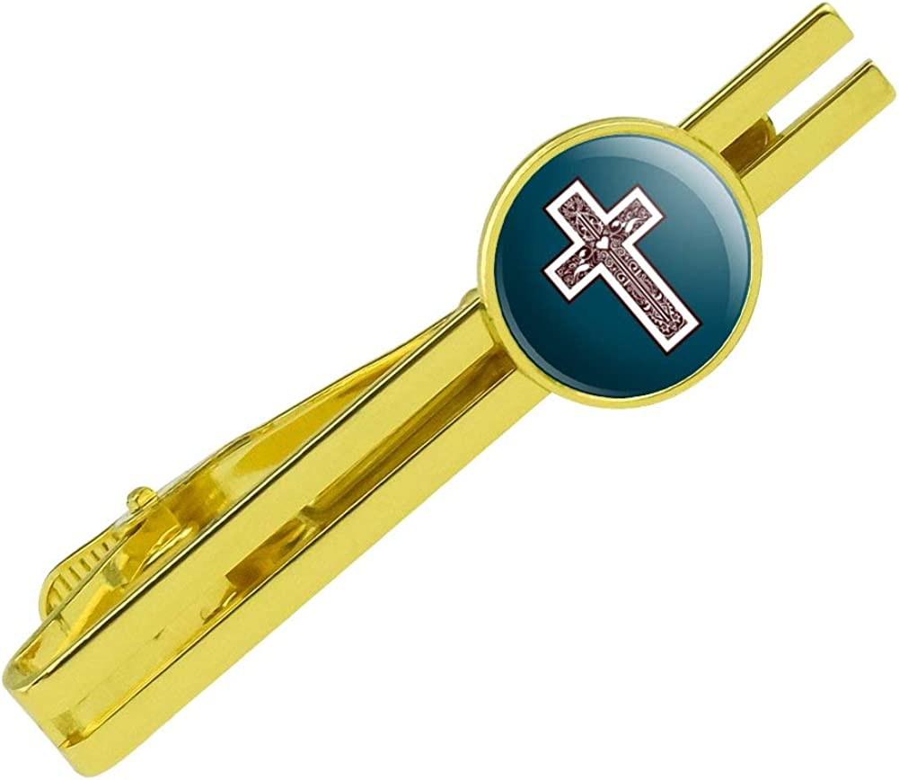 GRAPHICS & MORE Cross with Heart Christianity Round Tie Bar Clip Clasp Tack Gold Color Plated