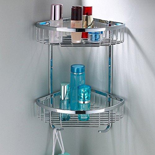 Étagère murale de support de coin de double couche de salle de bains d'acier inoxydable 304, support de stockage avec des crochets pour la salle de bains, cuisine, salle de lavage /salle de bain