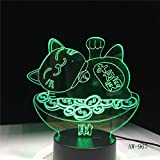 TYWFIOAV 3D LED veilleuse Lumière Chat chanceux Maneki Neko décoration Lumière Enfants Anniversaire vacances cadeaux pour Enfants Chambre veilleuse Bébé