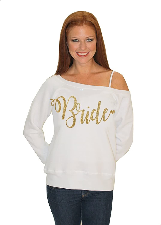 Classy Bride Bride Sweatshirt with gold Glitter  Off The Shoulder