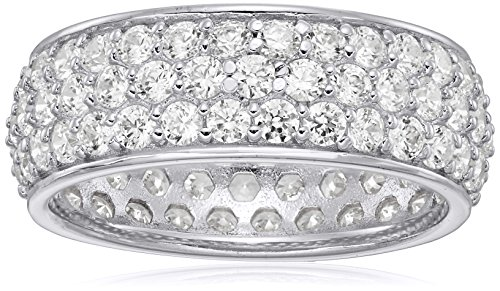 Platinum-Plated Sterling Silver Swarovski Zirconia Three-Row Pave Round Cut Ring, Size 8