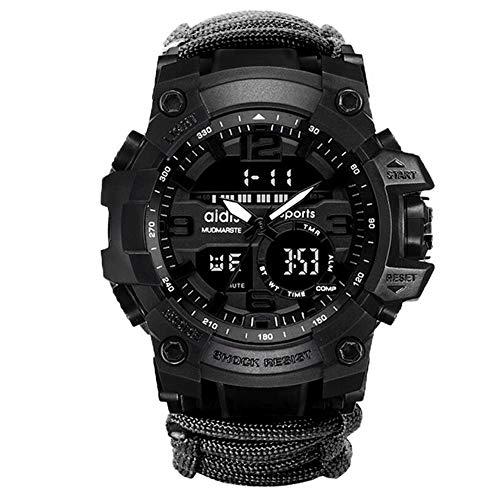 W.zz Outdoor Sport wasserdichte Herren-Uhr Multifunktionsfunktion LED-elektronische Uhr,Leuchtende Kompass Uhr im Freien Bergsteigen,Black