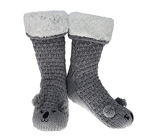 CityComfort Slipper Socken 3D Neuheit niedlichen Tier gestrickte extra warme Hausschuhe super weiche Winter Wolle (grau Koala)