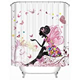 Beddingleer Schmetterling & Mädchen Rosa Duschvorhang Verdicken Natürliche Serie Anti-Schimmel Wasserdichte 180 x 180 cm mit 12 Vorhangringe