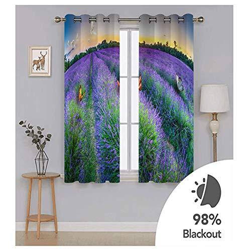 Knbob Polyester Vorhänge Lila Lavendel und Schmetterlinge Vorhang für Schlafzimmer Größe 274x160CM