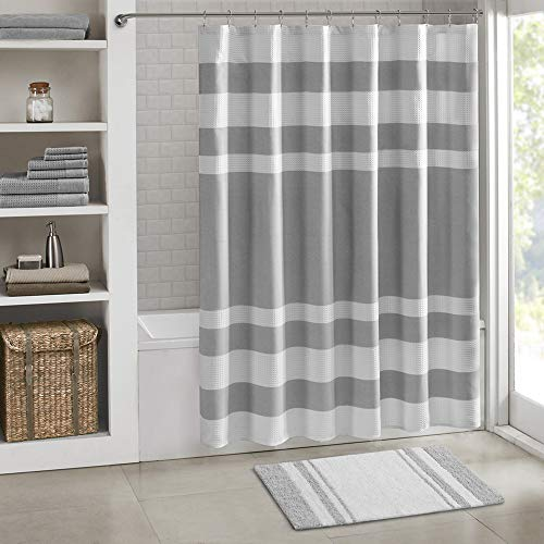 Madison Park - Spa Reversible Cotton Bath Rug - Grey - 20(W)' x 30(L)' - Striped - Water Absorbent-...