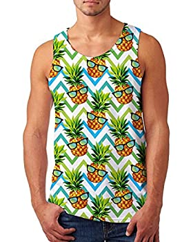 uideazone Tank Top Stylish Sport Gym Tees Athletic Training Vest 3D Funny Pineapple with Sunglasses Graphic Novelty Sleeveless Top for Men Small