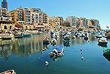 Rompecabezas de 1000 Piezas para Adultos: difícil Rompecabezas difícil Casas de Malta Marinas Lancha motora Bahía de San Julián Tablero de Madera Premium Enclavamiento preciso