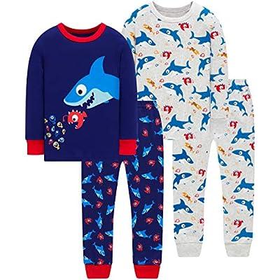 Pajamas For Boys Christmas Kids Dinosaurs Sleepwear Baby Girls Clothes 4 Pieces Pants Set